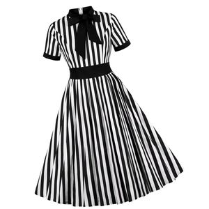Dresses & Skirts - Striped Bow Short Sleeve Pin Up Dress